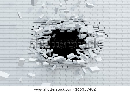 breaking brick wall, high resolution 3d rendering - stock photo