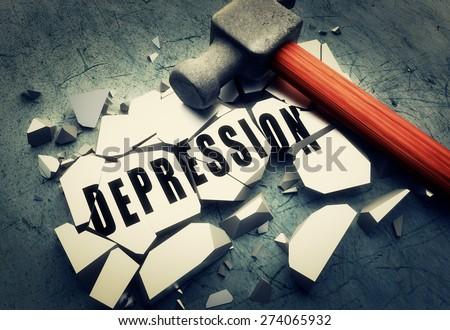 Breaking depression - stock photo