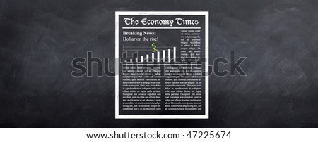 Breaking News - A sketched newspaper on the wall called 'The Economy Times' shows the dollar on the rise. Lorem ipsum text is used as dummy text - stock photo