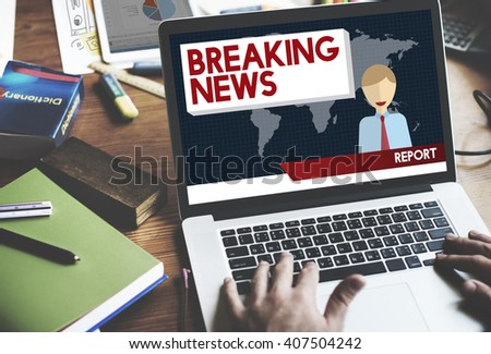 Breaking News Article Broadcast Headline Journal Concept - stock photo