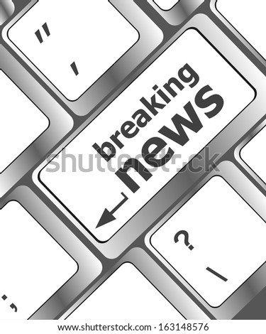 breaking news button on computer keyboard pc key, raster