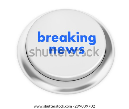 Breaking News button on isolate white background - stock photo