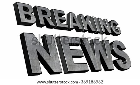 Breaking News 3D text  on white