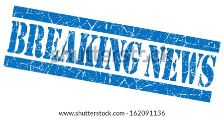 Breaking news grunge blue stamp - stock photo