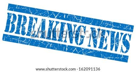 Breaking news grunge blue stamp - stock photo