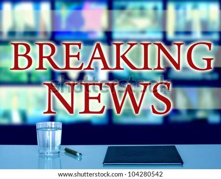 breaking news in studio tv - stock photo