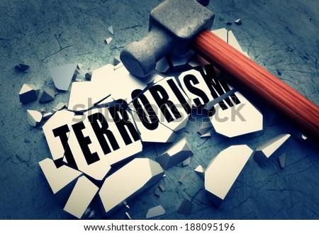 Breaking terrorism - stock photo