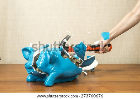 breaking the piggy bank pig - stock photo