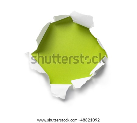 Breakthrough paper hole - stock photo