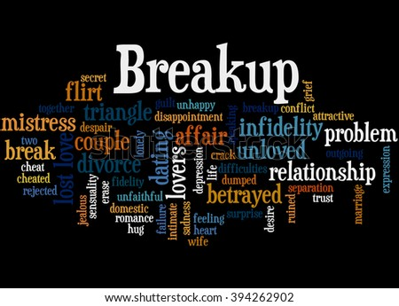 Breakup, word cloud concept on black background.  - stock photo