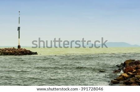 Breakwater at Lake Balaton ( Balatonmaria ), Hungary - stock photo
