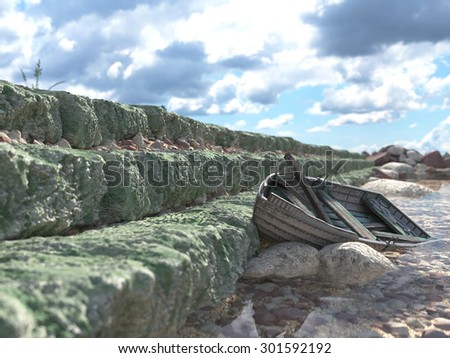 Breakwater with gates and old fishing boat concept background - stock photo