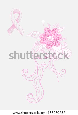 Breast cancer awareness concept: Beautiful Woman with flowers hand drawn illustration.  - stock photo