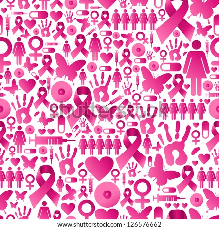 Breast cancer awareness icon set seamless pattern background