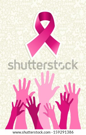 Breast cancer awareness ribbon elements women hands shape composition - stock photo