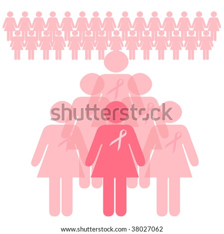 breast cancer awareness volunteers behind the scenes illustration - stock photo