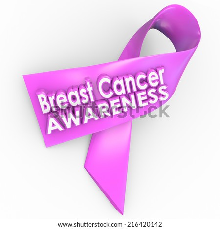 Breast Cancer Awareness words on a pink ribbon for fundraising to find a cure to the terrible disease afflicting too many women - stock photo