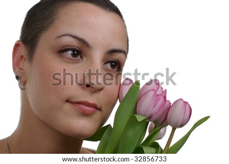 Breast cancer survivor (2 months after chemo) - stock photo