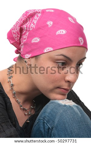 Breast cancer survivor 2 months after chemotherapy - stock photo