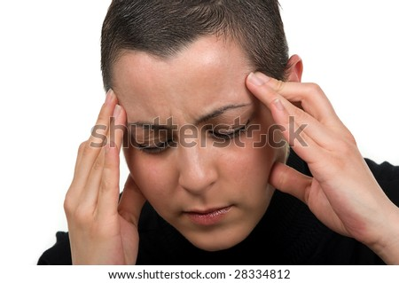 Breast cancer survivor with headache (2 months after chemo) - stock photo