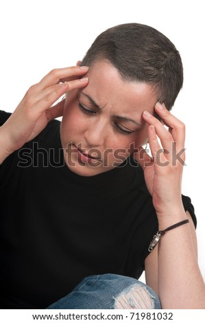 Breast cancer survivor with worries and headache - stock photo