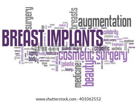 Breast implants - cosmetic surgery. Word cloud concept. - stock photo