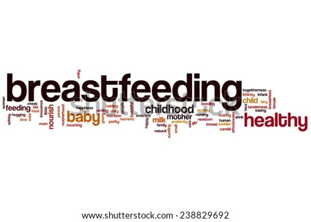 Breastfeeding word cloud concept with mother child related tags - stock photo