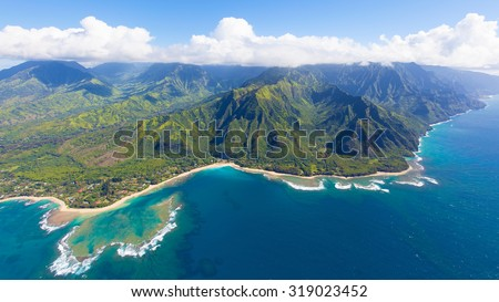 breathtaking aerial view from helicopter at kauai island, hawaii - stock photo