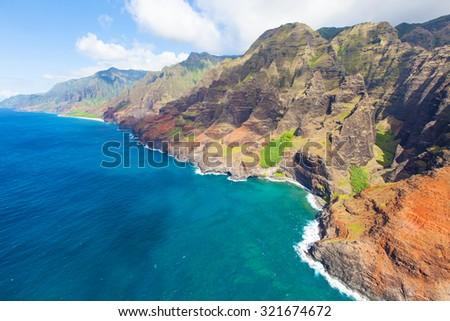 breathtaking aerial view from helicopter at na pali coast, kauai island, hawaii - stock photo