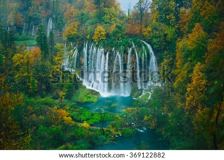 Breathtaking aerial view of a great waterfall in Plitvice National Park, Croatia UNESCO world heritage site