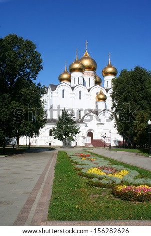 Breathtaking Famous The Annunciation Cathedral and The Archangel Cathedral in Moscow Kremlin, Russia - stock photo