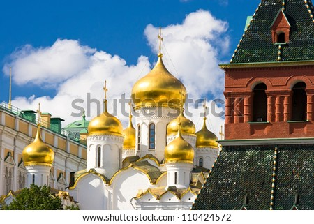 Breathtaking Famous The Annunciation Cathedral in Moscow Kremlin, Russia - stock photo