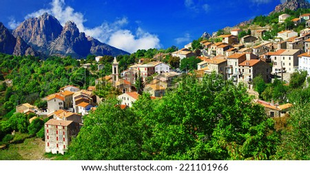 breathtaking landscapes of Corsica - view of Evisa vilage - stock photo