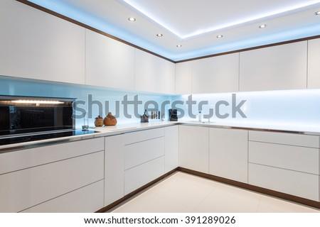 Breathtaking light interior design od kitchen - stock photo