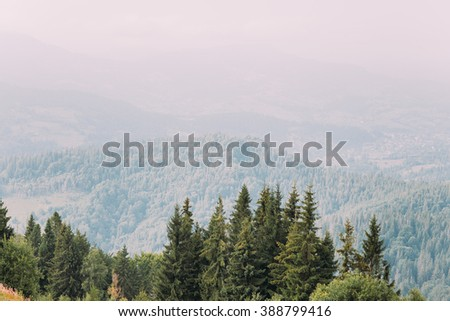 Breathtaking mountain landscape on panoramic view - stock photo
