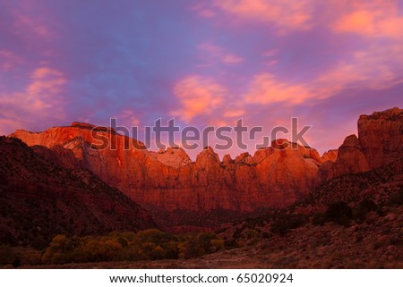 Breathtaking sunrise over the Towers of the Virgin in Zion Canyon National Park, Utah. - stock photo