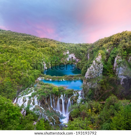 Breathtaking sunset view in the Plitvice Lakes National Park (Croatia) - stock photo