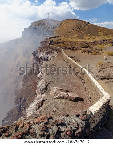 Breathtaking trail on the edge of Masaya volcano, Nicaragua - stock photo