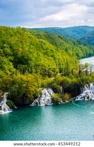 Breathtaking view in the Plitvice Lakes National Park .Croatia - stock photo