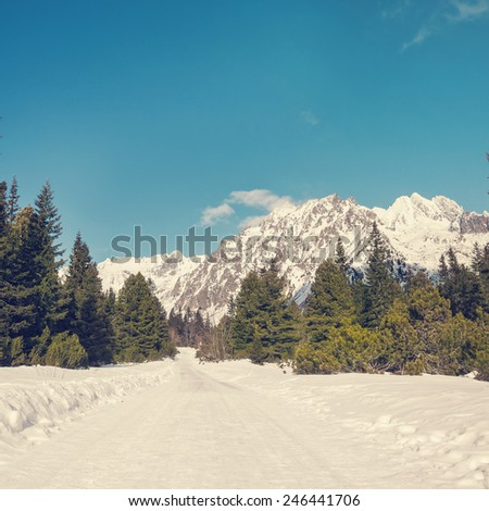 Breathtaking view of snowy mountains in the Tatra mountains  Instagram filter style - stock photo