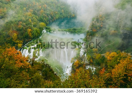 Breathtaking view of the Greatest waterfalls in Plitvice National Park, Croatia UNESCO world heritage site