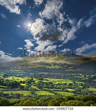 Brecon Beacons National Park in Wales, UK - stock photo