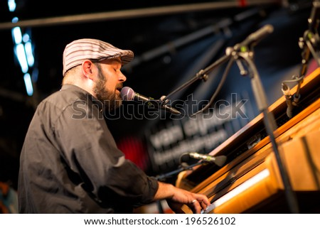 Breda, The Netherlands - May 30: Singer Bruce James performing and playing piano during the Breda Jazz Festival, an annual musical event, on May 30, 2014 in Breda, The Netherlands