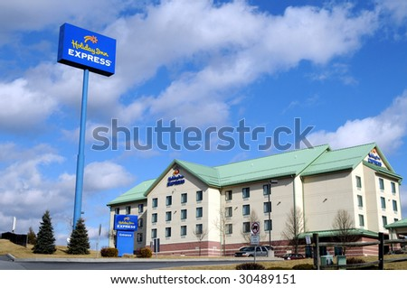 BREEZEWOOD, PA - FEB 12: Holiday Inn on February 12, 2009 in Breezewood, PA. InterContinental Hotels plans to rebrand and expand its Holiday Inn hotels despite the recession. - stock photo