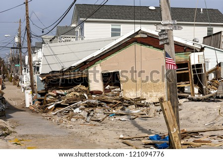 BREEZY POINT, NY - DECEMBER 3 : After more than a month from Hurricane Sandy no major reconstruction work began on Oceanside Drive at Breezy Point, New York, U.S., on Monday, December 03, 2012. - stock photo