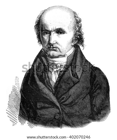Breguet watchmaker, who died in 1823, vintage engraved illustration. Magasin Pittoresque 1847.