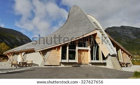 Breheimsenteret - National Park. Visitors Centre - museum. Jostedal Glacier National Park. Nigardsbreen, Norway. September 25, 2015 - stock photo