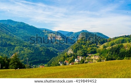 Breitenstein am semmering is a small village in austria situated on the famous semmeringbahn railway, part of the unesco world heritage - stock photo