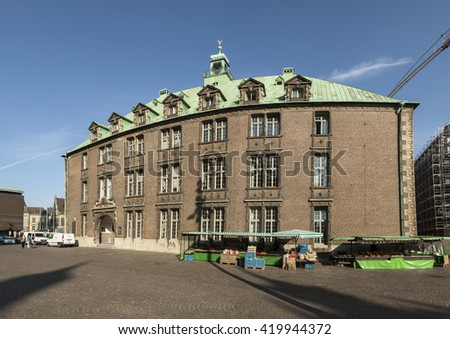 BREMEN, GERMANY - MAY 12, 2016: Town Hall on the Market Square. In July 2004 the Roland Statue and the Town Hall was listed as a UNESCO World Heritage Site.