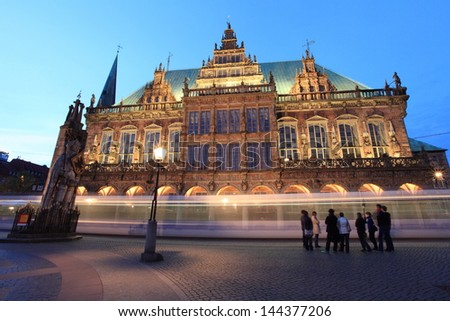 Bremen medieval town hall by twilight, unesco world heritage and fairy tale road in Germany